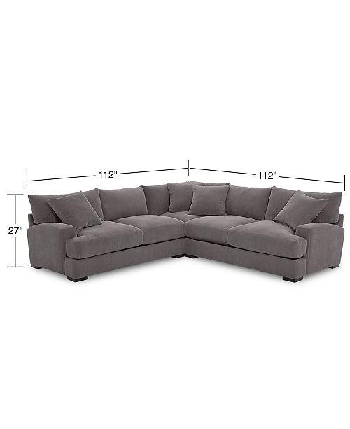 Brilliant Rhyder 3 Pc L Shaped Fabric Sectional Sofa Created For Macys Interior Design Ideas Tzicisoteloinfo