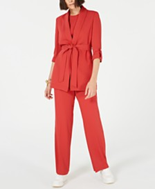 Bar III Belted Shawl-Collar Jacket & Flare-Bottom Pants, Created for Macy's