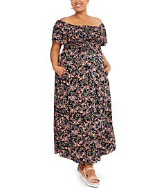 Motherhood Maternity Plus Size Off-the-Shoulder Maxi Dress