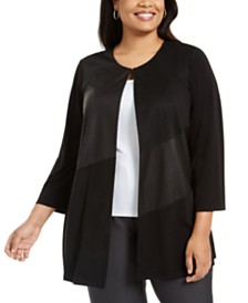 Kasper Plus Size Mixed-Media Jacket