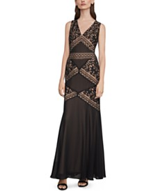 BCBGMAXAZRIA Embroidered Illusion Gown