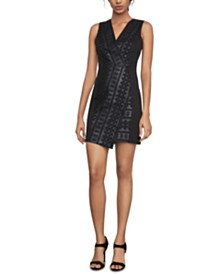 BCBGMAXAZRIA Embroidered Faux-Wrap Sheath Dress