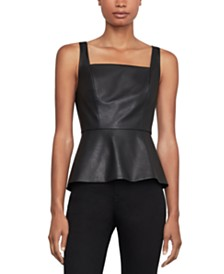 BCBGMAXAZRIA Faux-Leather Peplum Top