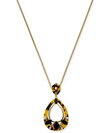 """I.N.C. Gold-Tone Tortoise & Imitation Pearl  Pendant Necklace, 32"""" + 3"""" Extender, Created for Macy's"""
