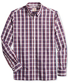 Brooks Brothers Men's Red Fleece Regular-Fit Oxford Plaid Shirt