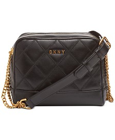 DKNY Double-Chain Leather Shoulder Bag, Created for Macy's