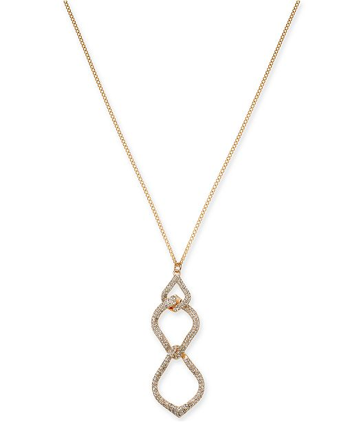 "INC International Concepts INC Rose Gold-Tone Pavé Interlocking Pendant Necklace, 28"" + 3"" extender, Created For Macy's"