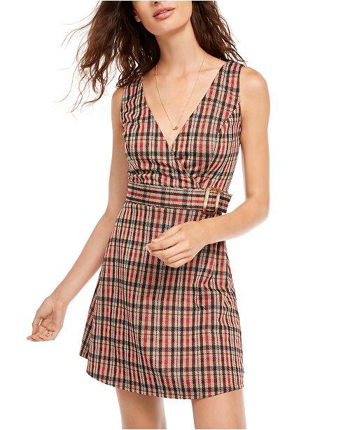 B Darlin Juniors' Plaid Jumper Dress