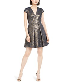 Fit & Flare Metallic Jacquard Dress