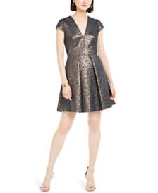 Vince Camuto Petite Metallic Animal-Print Fit & Flare Dress