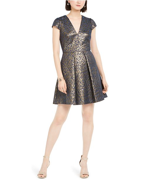 Vince Camuto Fit & Flare Metallic Jacquard Dress
