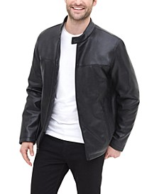 Men's Classic Faux Leather Stand Collar Racer Jacket