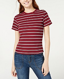 Juniors' Rib-Knit Crew-Neck T-Shirt