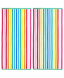American Dawn Rainbow Stripe Double Velour Jacquard Beach Towel 2 Piece Set