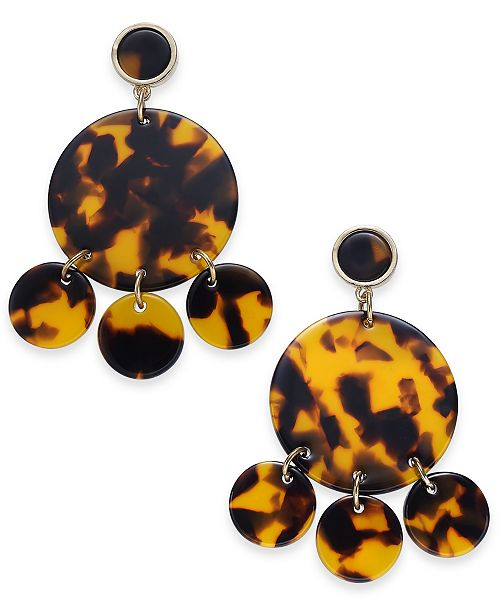INC International Concepts INC Gold-Tone Tortoise-Look Circle Chandelier Earrings, Created For Macy's