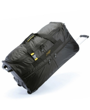 """Image of A. Saks 31"""" Expandable Rolling Trolley Duffel Black - A. Saks Softside Checked"""