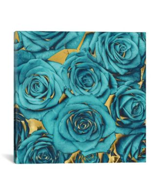 """Roses - Teal On Gold by Kate Bennett Wrapped Canvas Print - 18"""" x 18"""""""