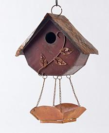 Glitzhome Distressed Solid Wood Birdhouse with Bird Bath