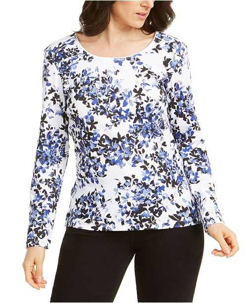 Karen Scott Abstract Floral-Print Top, Created for Macy's