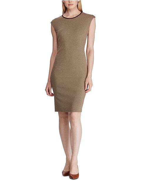 Lauren Ralph Lauren Suede-Trim Herringbone Jacquard Dress