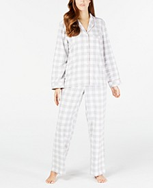 Women's Petite Cotton Flannel Pajama Set, Created for Macy's