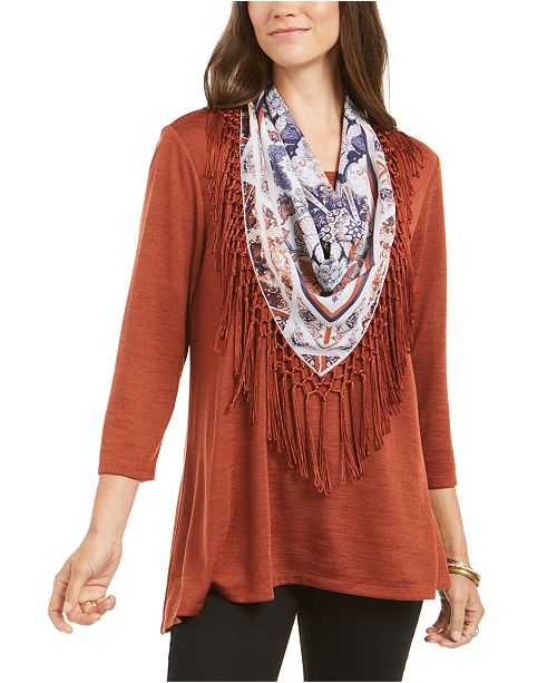 Style & Co Fringed Scarf-Neck Top, Created for Macy's