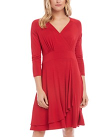Karen Kane Cascade Faux-Wrap Dress, Created for Macy's