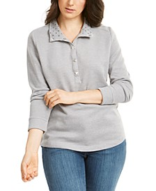 Petite Snap-Neck Top, Created for Macy's