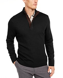 Men's Supima Cotton Textured 1/4-Zip Sweater, Created For Macy's