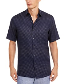 Tasso Elba Men's Geo-Print Linen Shirt, Created for Macy's