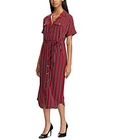 Stripe-Print Jersey Maxi Shirtdress