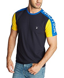 Men's Blue Sail Classic-Fit Colorblock Logo Piqué T-Shirt, Created for Macy's