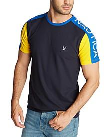 Men's Blue Sail Classic-Fit Colorblock Logo Piqué T-Shirt, Created for Macy's