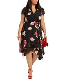 Betsey Johnson Plus Size Lace-Trim High-Low Wrap Dress