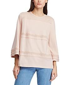 Lace-Trim Knit Cotton Top