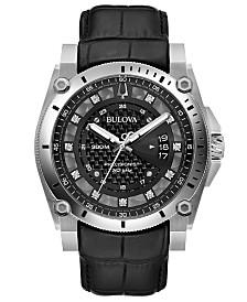 Bulova Men's Precisionist Diamond-Accent Black Leather Strap Watch 46.5mm