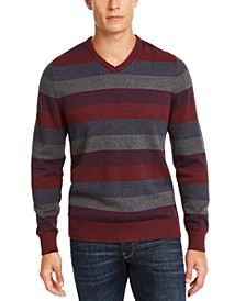 Men's Regular-Fit Stripe V-Neck Sweater, Created for Macy's
