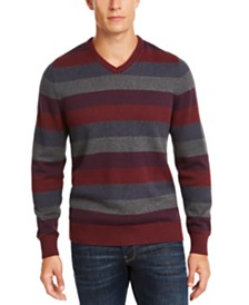 Club Room Men's Regular-Fit Stripe V-Neck Sweater, Created for Macy's