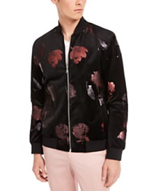 I.N.C. Men's Foil Flower Bomber Jacket, Created for Macy's