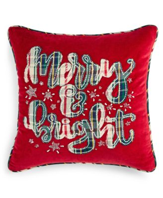 "Merry Bright 18"" x 18"" Decorative Pillow, Created for Macy's"