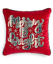 """Martha Stewart Collection Merry Bright 18"""" x 18"""" Decorative Pillow, Created for Macy's"""