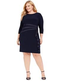 Jessica Howard Plus Size Side-Ruffled Dress