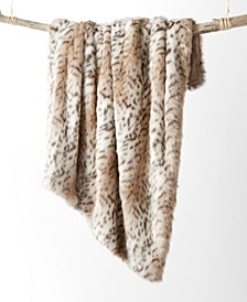 Faux-Fur Snow Leopard Throw, Created for Macy's