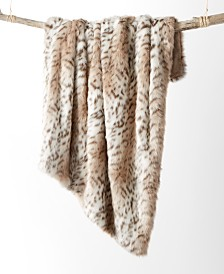 Martha Stewart Collection Faux-Fur Snow Leopard Throw, Created for Macy's