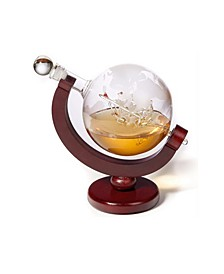 Whiskey Decanter with Globe Design on a Wooden Base