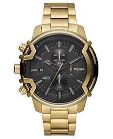 Men's Chronograph Griffed Gold-Tone Stainless Steel Bracelet Watch 48mm