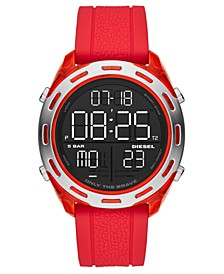 Men's Digital Crusher Red Silicone Strap Watch 46mm