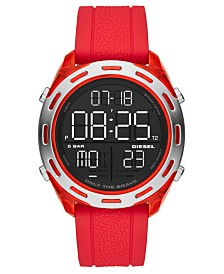 Diesel Men's Digital Crusher Red Silicone Strap Watch 46mm