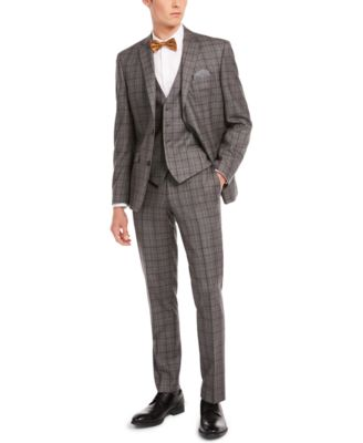 Men's Slim-Fit Gray/Brown Plaid Suit Separate Pants, Created for Macy's