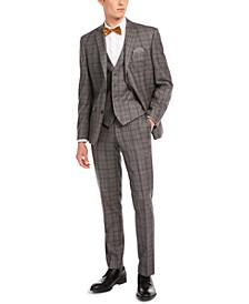 Men's Slim-Fit Gray/Brown Plaid Suit Separates, Created for Macy's
